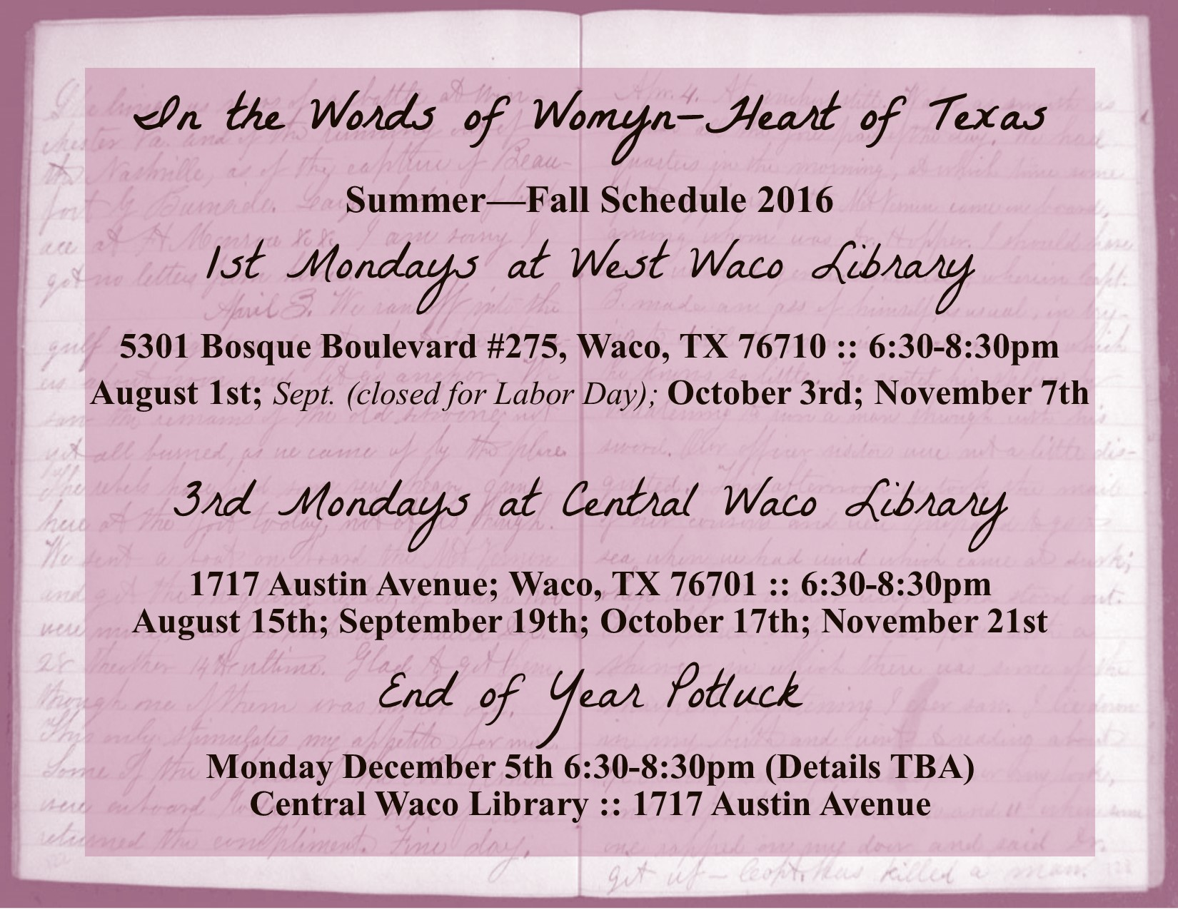 ITWOW Summer - Fall schedule